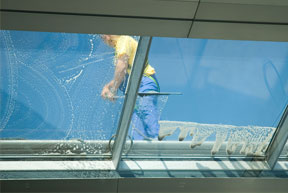 Commercial Window Cleaning In Progress